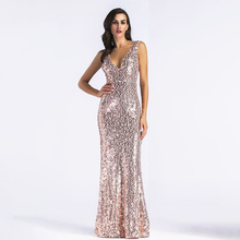 D143 rose gold floor length v-neck back open mermaid long sequined dress