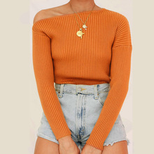2019 New Autumn Solid Color One shoulder Thread Slim Knitting Shirts Body Sexy Long Sleeve pullover For Womens Knitted Sweater