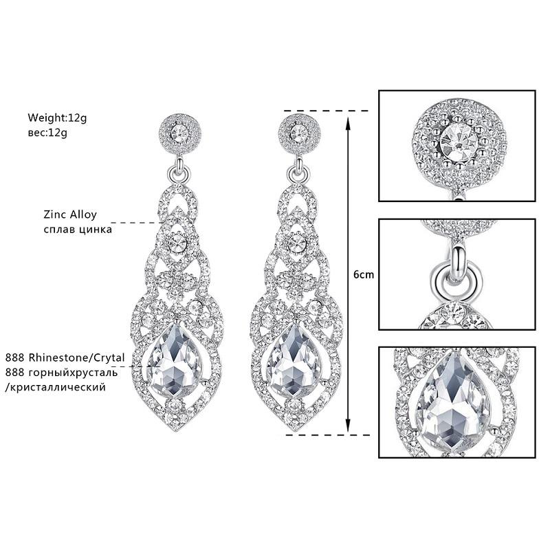 Mecresh Kristal Pernikahan Earrings untuk Wanita Lucu Warna Silver - Perhiasan fashion - Foto 3