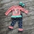 Los niños ropa de Otoño los niños de manga larga trajes de ropa de bebé niñas permanecer salvaje niños ruffle encuadre de cuerpo entero pantalón con accesorios