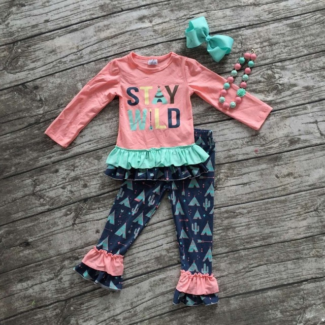 kids Fall clothes kids long sleeve outfits baby girls stay wild clothing children ruffle full length pant with accessories