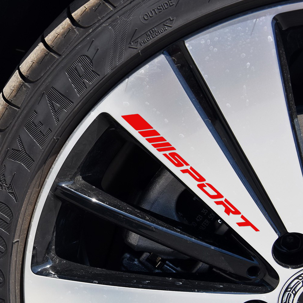 Us 54 54 Off4pcs Racing Sport Alloy Rims Wheel Decal Sticker Graphic For Mercedes Benz A C E Cla Class Amg W204 W205 Car Styling Accessories In