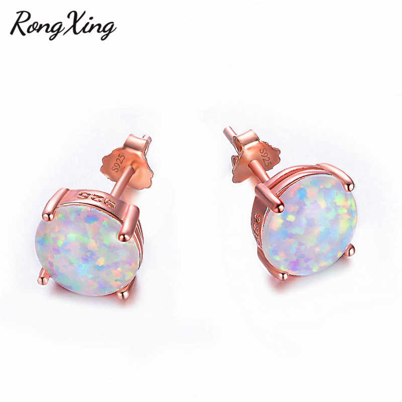 RongXing 6/8MM Round White Fire Opal Rose Gold Stud Earrings For Women Men 925 Sterling Silver Filled Birthstone Earring Jewelry