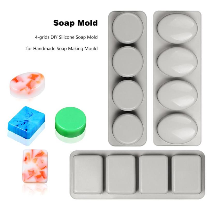 4-grids DIY Silicone Soap Form Mold For Handmade Soap Making Forms 3D Mould Oval Round Square Soaps Molds Fun Gifts
