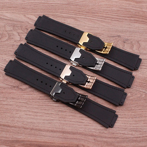 Image 3 - Accessoires de montre en cuir de haute qualité 25 * mm 19mm bracelet en caoutchouc boucle papillon pour bracelet Hublot bracelet de montre pour femme pour hommes