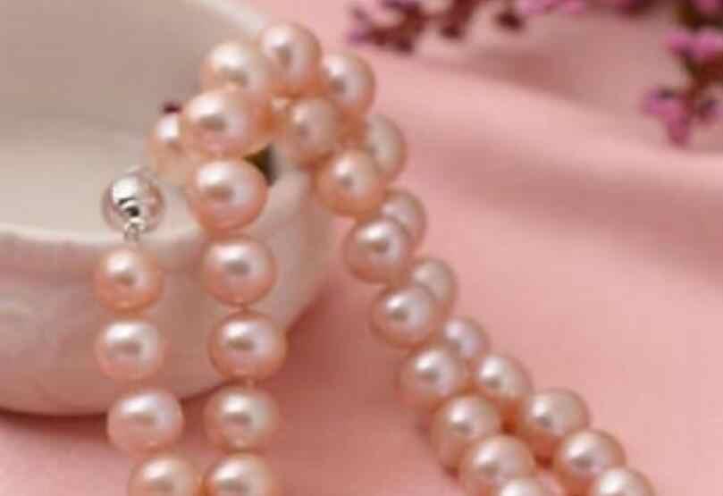 """Удивительно, размером 8-9 мм, натуральный круглый ожерелье из розового жемчуга 18 дюймов 36"""""""