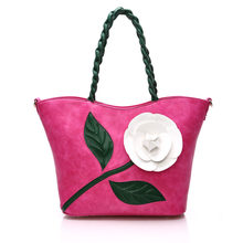 2017 new fashion trends into color stereo flowers shopping bag red hand the bill of lading shoulder his women bag handbags
