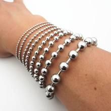 Women Bracelet Men's Chain Bracelet Silver Tone Stainless Steel Bead Chain Bracelet(China)