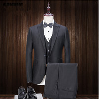 Tailor Made Men S Suit 3 Pieces Jacket Pants Vest 2017 New Design Black Blazer Slim