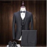 Tailor Made Men S Suit 3 Pieces Jacket Pants Vest 2017 New Design Black Blazer Slim