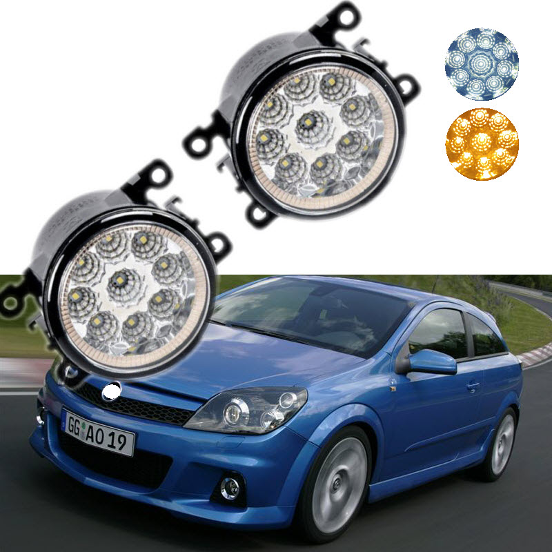 For Opel Astra OPC G H 2002-2010 9-Pieces Leds Chips LED Fog Light Lamp H11 H8 12V 55W Halogen Fog Lights Car Styling for opel astra h gtc 2005 15 h11 wiring harness sockets wire connector switch 2 fog lights drl front bumper 5d lens led lamp