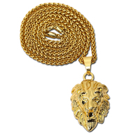 2016 18K Gold Plated Lion Head Charm 29 5inch Link Chain Hiphop Mens Golden Crown King