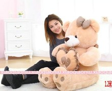 big lovely brown bow teddy bear toy with brown heart huge new bear doll gift about 120cm