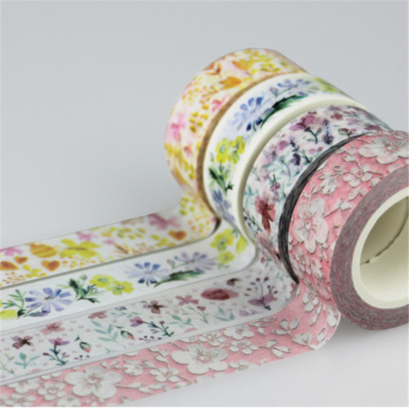 15mm*10m Japanese Cute Kawaii Colorful Flowers Leaf Masking Washi Tape Decorative Adhesive Tape Diy Scrapbooking School Supply