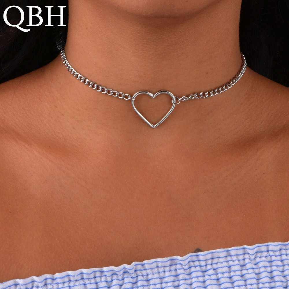 NK218 Hohl Herz Choker Halsketten Für Frauen Schlüsselbein Colar Erklärung Halskette Collares Herz Dainty Anhänger Halskette Geschenk