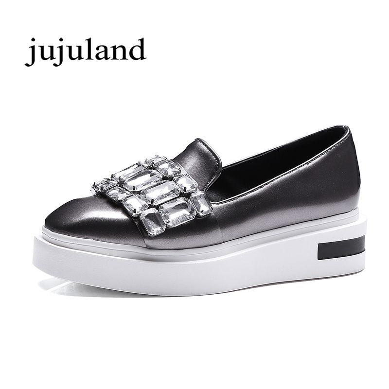 Spring/Autumn Women Flats Shoes Fashion Casual Flat Platform Solid Square Toe Patent Leather Crystal Slip-On Big Size Lazy Shoes concise lofers for women spring women flats elastic band round toe flats size 34 43 flat sole platform shoes 2016 women shoes