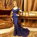 Azul marino Encaje Bordoneado Elegante Madre de la Novia Longitud del Piso Más El Tamaño de la Madre de La Novia Vestidos de Boda vestidos
