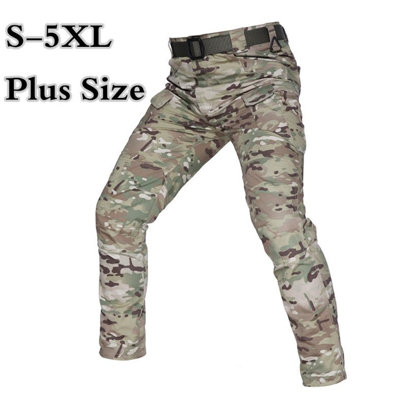 Water Repellent Plaid Camouflage Tactical Pants 5XL Combat Training Military Trousers Men Outdoor Sports Multi Pocket Cargo Pant