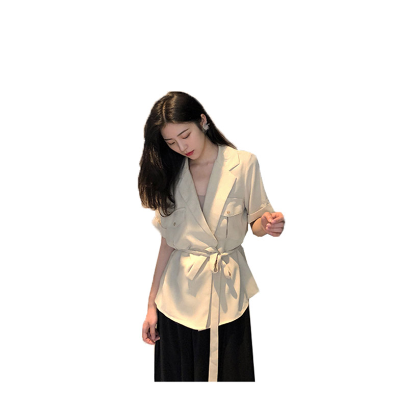 Casual coat women 2018 summer Short-sleeved loose thin solid colcor top