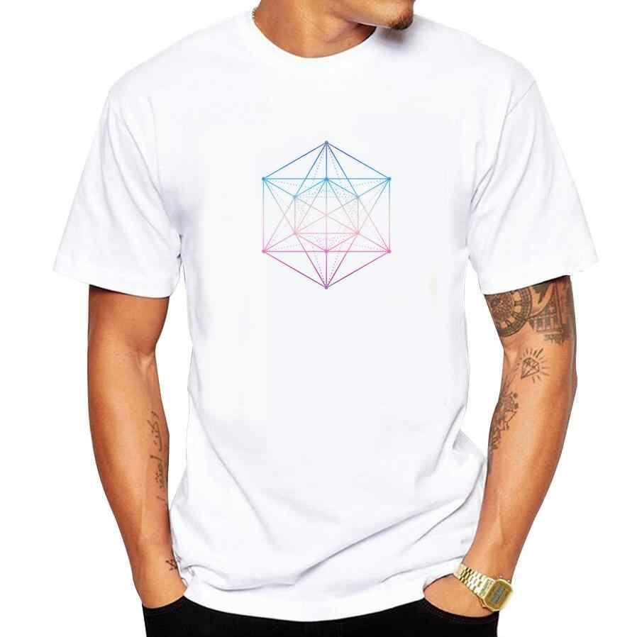 2018 disegno Geometrico T-Shirt da Uomo Astratto Blu Geometria Stampa Divertente T camicia Degli Uomini di Estate Casual Manica Corta Maglietta più il formato 5xl