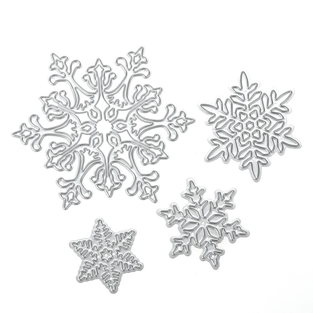 4 stk / sæt Snowflake skæring dør julemner metal stencil Stencils til DIY Scrapbooking album stempel stempling papir ...