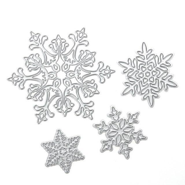 4 unids/set Troqueles de Copo de nieve de Navidad de Metal Plantillas de Troqueles De Corte Troquelado para DIY Scrapbooking Álbum Tarjeta De Papel Gofrado