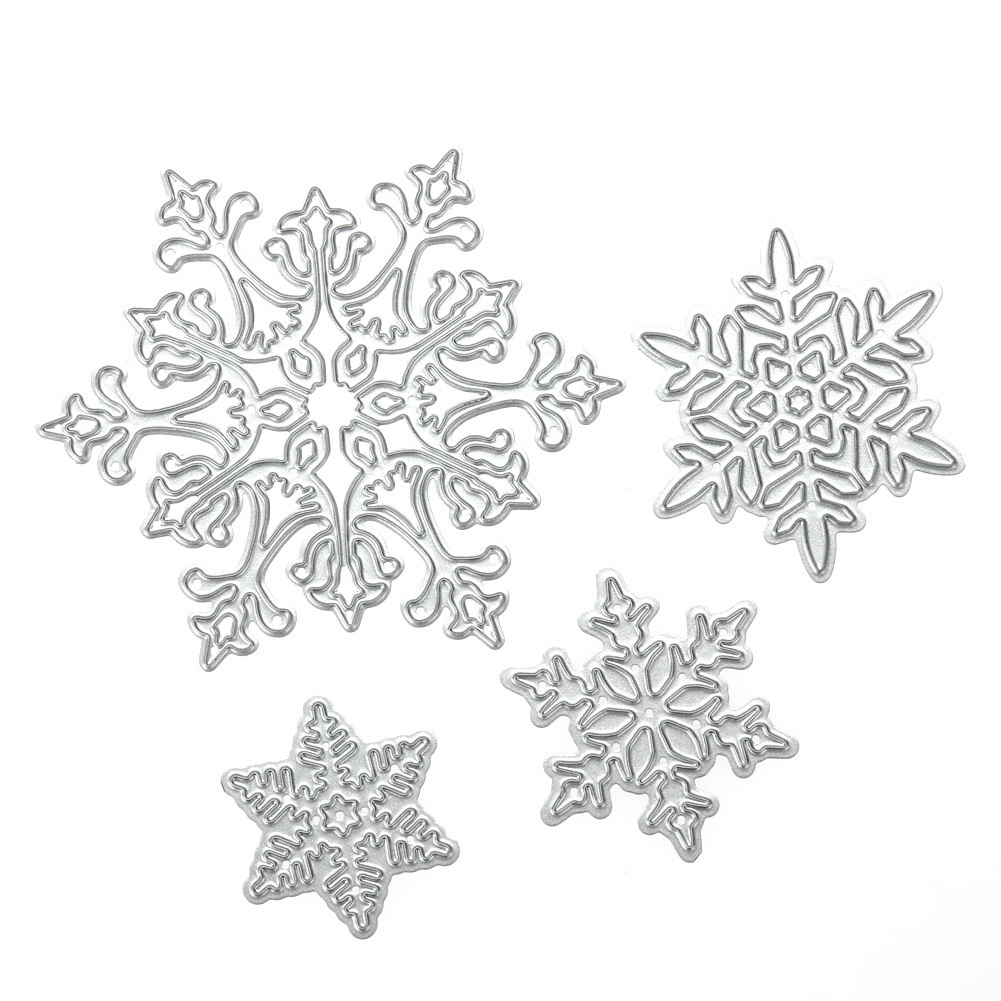 4pcs/set Snowflake Cutting Dies Christmas Dies Metal Cutting Dies Stencils For Diy Scrapbooking Album Stamp Paper Card Embossing