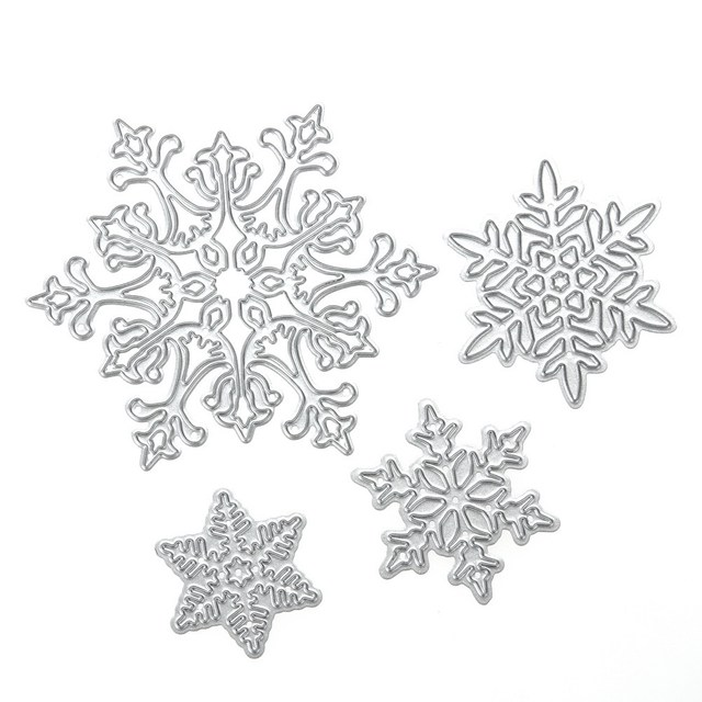 4pcs/set Snowflake Cutting Dies Christmas Dies Metal Cutting Dies Stencils for DIY Scrapbooking Album Stamp Paper Card Embossing