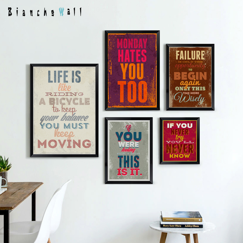 Bianche Wall Retro English Motto Inspirational Quote Color A4 Canvas Painting Art Print Poster Picture Paintings Home Decoration