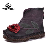 WooPoem Brand 2017 Winter Shoes Woman Genuine Leather Flower Shoes Comfort Low Heel Ankle Boots Classic