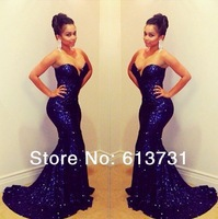 Sparkling Sweetheart Dark Blue Sequined Lace Mermaid Prom Dresses Long Evening Gowns 2014 New Fashion With Train