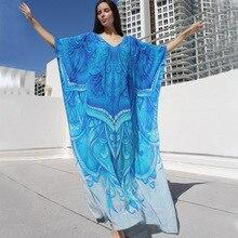 Printed V Neck Long Beach Cover Up Pareos De Playa Mujer Beach Wear Bikini Cover Up Robe Plage Sarong Beach Tunic Beachwear