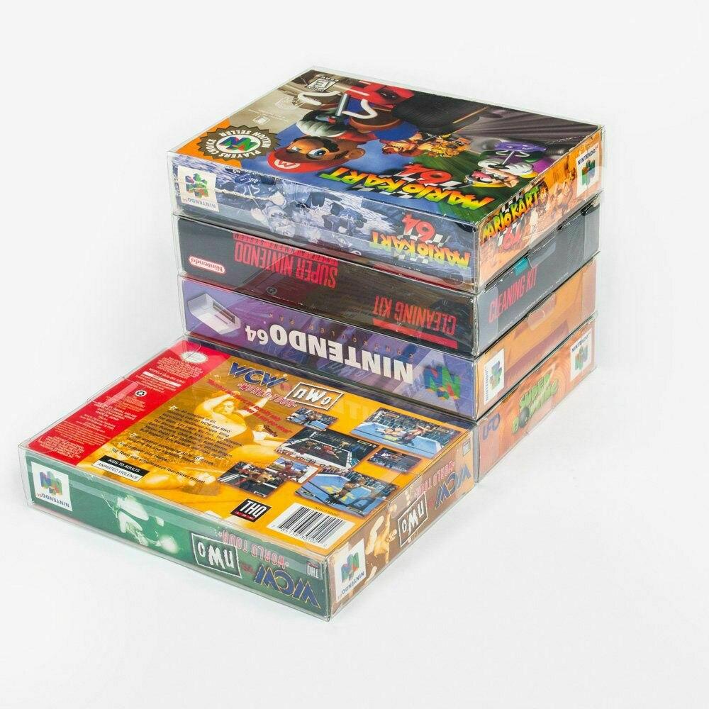 Ruitroliker 10Pcs Clear Box Case Sleeve CIB Protector For SNES N64 Games Cartridge Box