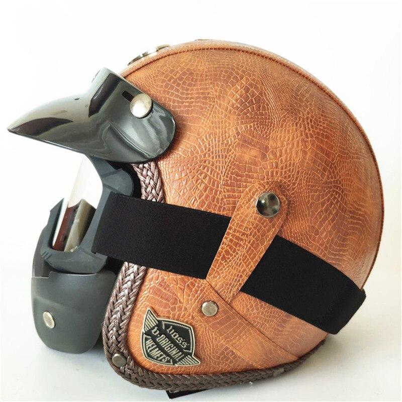 HOT visage ouvert Casque moto 2019 masque DOT approuvé visière PU cuir vintage moto Casque Casque Casco Harley Casque