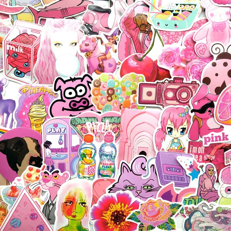 64Pcs PVC Waterproof Girls Kawaii Pink Fun Sticker Toys Luggage Stickers For Moto Car & Suitcase Cool Fashion Laptop Stickers F4