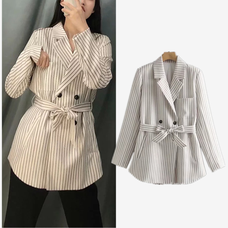 2019 New Casual Striped Double-breasted Suit Jacket Female Blazer Feminino Blazer Women Blaser Feminino(China)