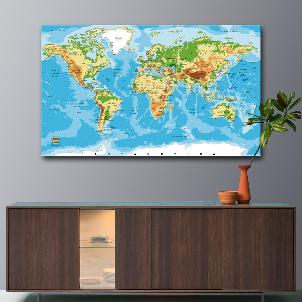 Unframed Large World Map Canvas Art Print Poster Modern Wall Picture ...