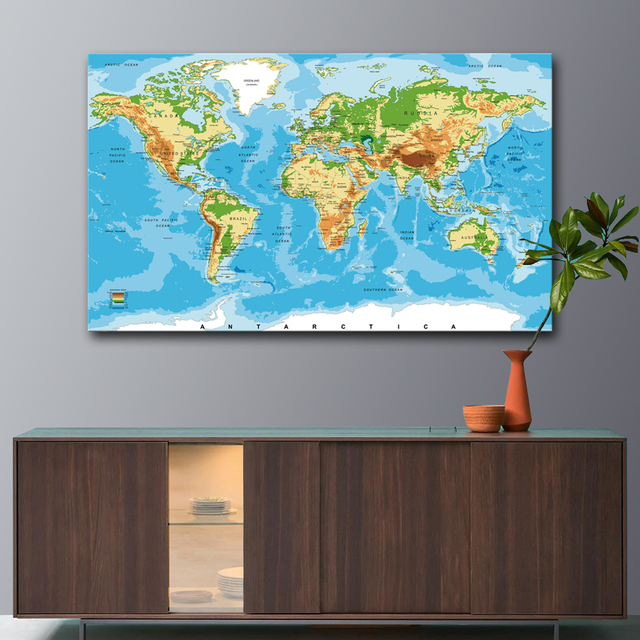 unframed large world map canvas art print poster modern wall picture for living room home decorative