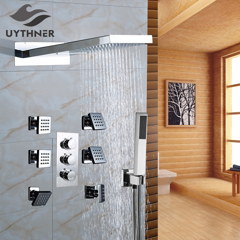 New Thermostatic Bathroom Shower Faucet Stainless Steel Rainfall/Waterfall Shower Head W/ Massage Spray Jets Wall Mount new york jets stainless dog bowl