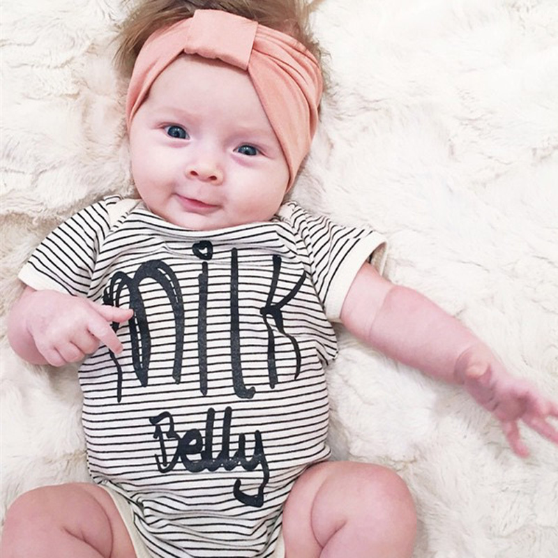 New arrival striped bodysuit baby clothes 2018 baby girl clothes jumpsuit toddler girl clothing letter baby boy clothes SR071