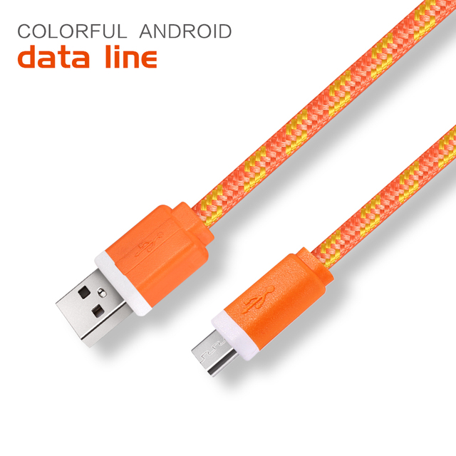 1M/2M/3M Fabric Nylon Braided Micro USB Cable Charger Data Sync USB ...