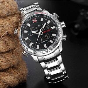 Image 3 - NAVIFORCE Лидирующий бренд мужские военные спортивные часы мужские s светодиодный аналоговые цифровые часы Мужские кварцевые часы из нержавеющей стали Relogio Masculino 9093