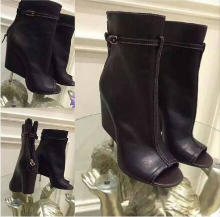Pour Marque Top Femmes Métal Filles Bottes Chaussures En Qualité Sexy Cuir Haute Courtes Talons Cheville Moraima Ouvert Bout Snc À Mince Noir O5qnpp
