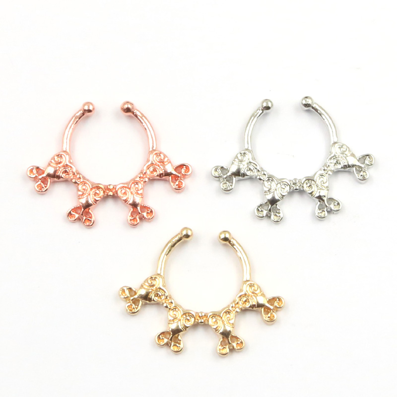 30pcs New Design Plated Rose Gold Nose Rings And Studs Fake Ring