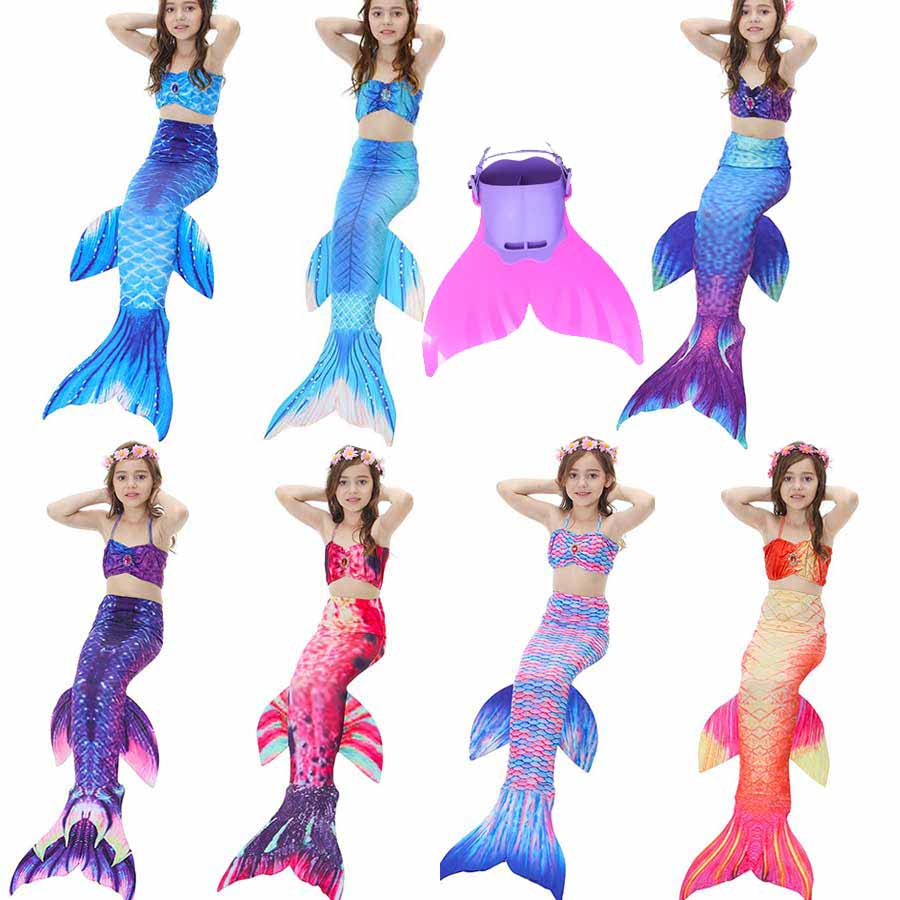 2018 Newest Princess Ariel Children Baby Girls Mermaid Tails for Swimming Costume Swimmable Mermaid Tail with Monofin Kids Child 2 piece girl s mermaid tails for swimming costume with monofin for kids girl swimmable mermaid tail dress w fin cosplay 2017 new