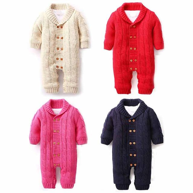 winter 2018 thicken warm alpaca knitted baby clothes newborn clothes villus kids romper onesie baby christmas