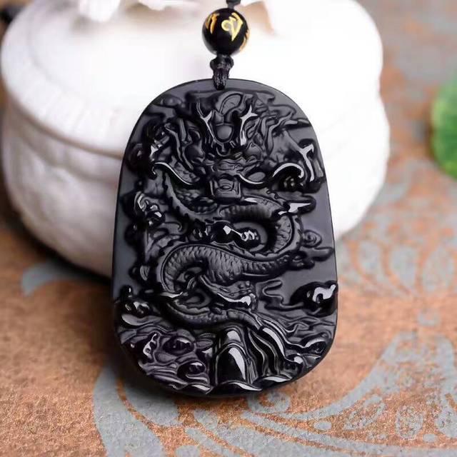 Collier pendentif amulette chanceux noir obsidienne sculpture Dragon pour femmes hommes pendentif