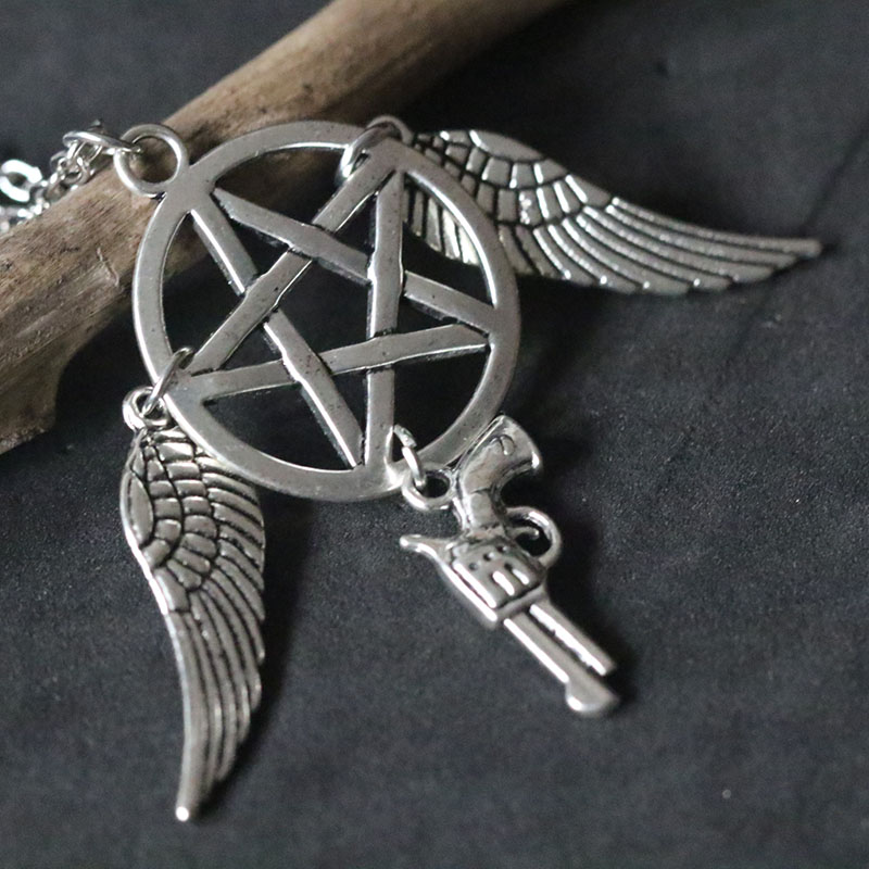 Supernatural Pentacle Necklaces Evil Force Pentagram Pendant Necklace Star Wings Pistol Pendant Charms Women Christmas Gift in Pendant Necklaces from Jewelry Accessories