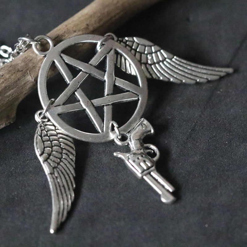 Supernatural Pentagrama Pentagrama Colares Força Do Mal Colar De Pingente De Estrela Asas Encantos Pingente de Pistola Mulheres Presente de Natal