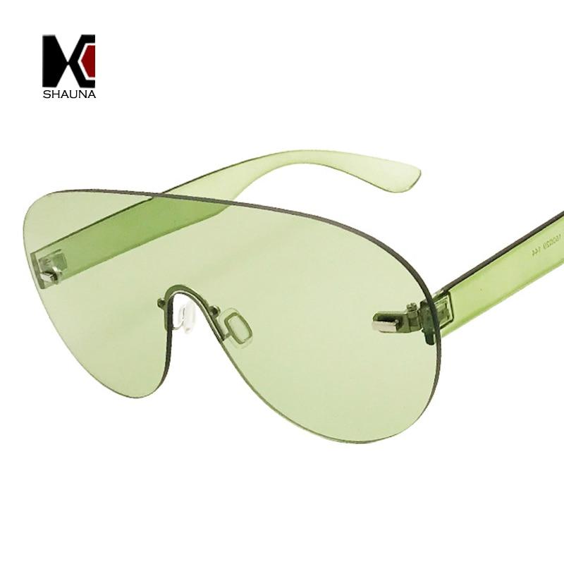 SHAUNA Oversize Integrated Lens Goggle Sunglasses Women Rimless Candy Color Glasses Fashion Men Clear Purple Lens Shades UV400
